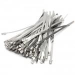 100PCS  4.6 x 200x 0.25mm Strong Stainless Steel Marine Grade Metal Cable Ties Zip Tie Wraps Exhaust