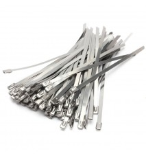 100PCS  4.6 x 300mm Strong Stainless Steel Marine Grade Metal Cable Ties Zip Tie Wraps Exhaust