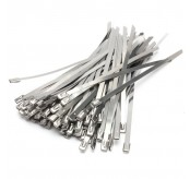 100PCS  7.9 x 400mm Strong Stainless Steel Marine Grade Metal Cable Ties Zip Tie Wraps Exhaust