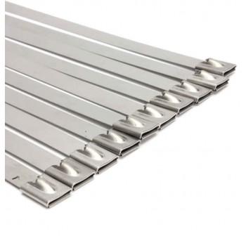 100PCS  7.9 x 400mm Strong Stainless Steel Marine Grade Metal Cable Ties Zip Tie Wraps Exhaust
