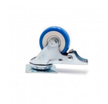 4PCS Heavy Duty 50mm 100kg PU Brake Swivel Castor Wheels Trolley Furniture Caster Rubber