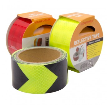 Highpower 50mm x 5meter Safety Reflective Warning Conspicuity Film Sticker Strip Self Adhesive tape yellow/black