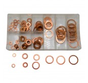 120PCS 9 Sizes Assorted Solid Copper Crush Washers Seal Flat Ring Set With Case