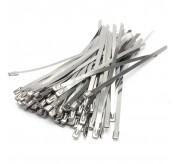 100Pcs 7.90x500x0.25mm Strong Steel Marine Grade Metal Cable Ties Zip Tie Wraps