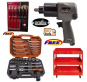 "MR MARK 1/2"" Twin Hammer Professional Dr.Air Impact Wrench +MR MARK MK-4631 31PCS DR.Socket Wrench+WORKER 3 Layers Trolley+WORKER WK-8807 6 Pcs GO-Throught S/Driver Set"