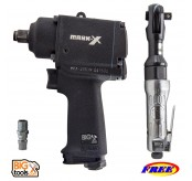 "MARK-X MKX-2053 1/2"" MINI AIR IMPACT WRENCH+MR MARK MK-515 Air Ratchet 1/2"""