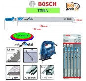 Bosch 5 Piece T318A Jigsaw Blade Basic For Metal 2608631319