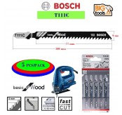 BOSCH T111C 5 pcs 4 In. 8 TPI Basic for Wood T-Shank Jig Saw Blades