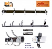 5 Hook Stainless Steel Strong Clothes Towel Robe Holder Rack