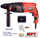 MPT MRHL2607 800W 26mm 3 Mode SDS-Plus Rotary Hammer Drill With 3pcs SDS-Plus Drill Bits & 2 pcs sds chisel &1Pair carbon brush