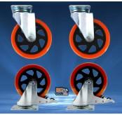 BIGTOOL 4pcs 100mm 320kg PVC Orange Brake Swivel Castor Wheels Trolley Caster Furniture Casters