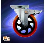 2 Pcs Bigtool 75mm 60kg PVC Orange Brake Swivel Castor Wheels Trolley Caster Furniture Casters