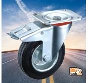 2 Pcs  75mm  50kg Swivel Break Black Rubber Wheel Caster for Trolley Furniture
