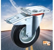 160mm 100kg Swivel Break Black Rubber Wheel Caster for Trolley Furniture