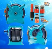SENDAI GARDEN HOSE REEL SET 20M SPRINKLING WATER SUPPLY HOSE WALL BRACKET GARDENING HOUSEHOLD