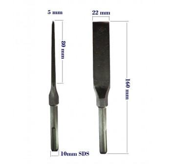 3pcs SDS Plus Hardend Chisel Set Point , Flat, Long Flat Chisels Lenght 160mm