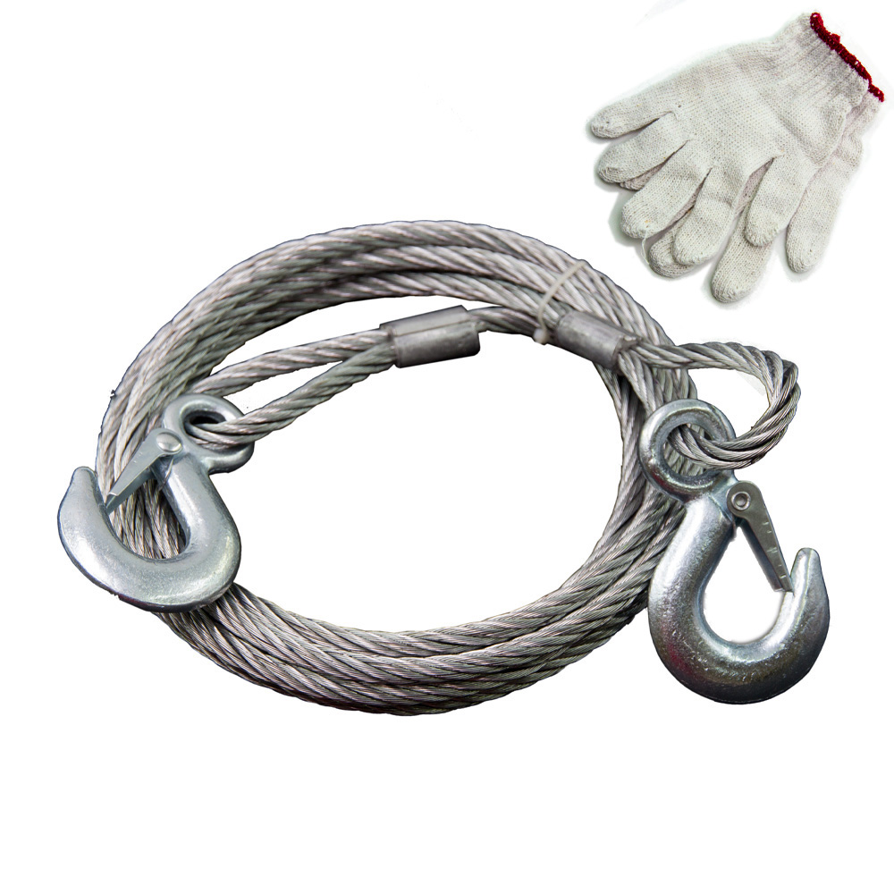 4000kg Car Towing Rope Steel Wire Rope Tow Cable 4M With Steel Hooks